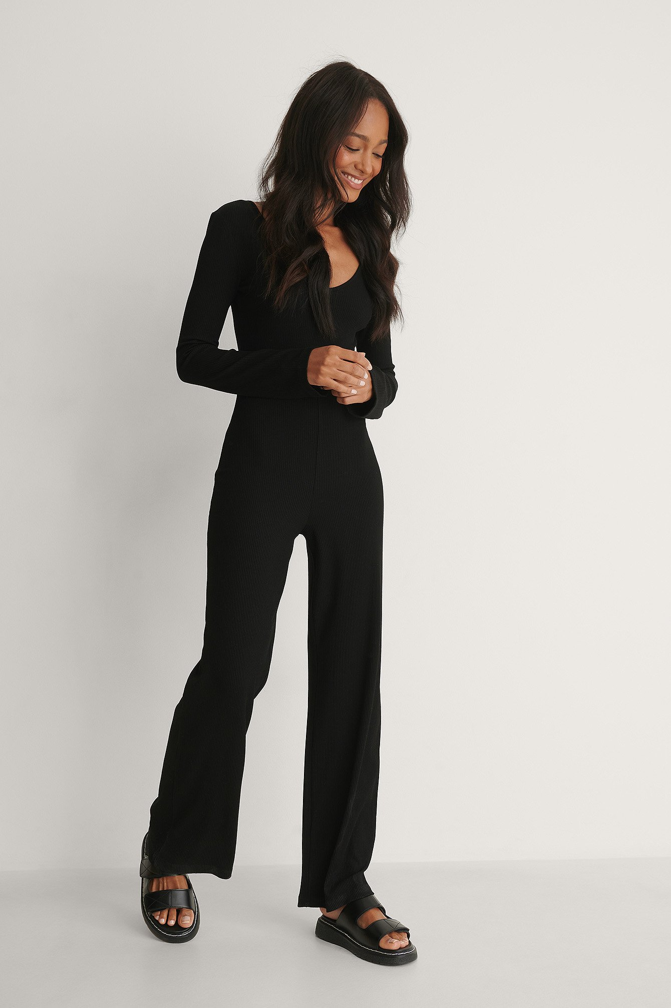 Black Ribbed Long Sleeve Jumpsuit
