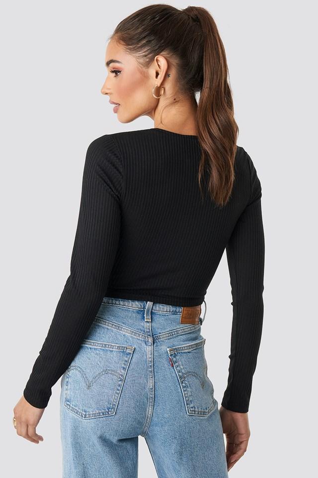 Ribbed Long Sleeve Top Black