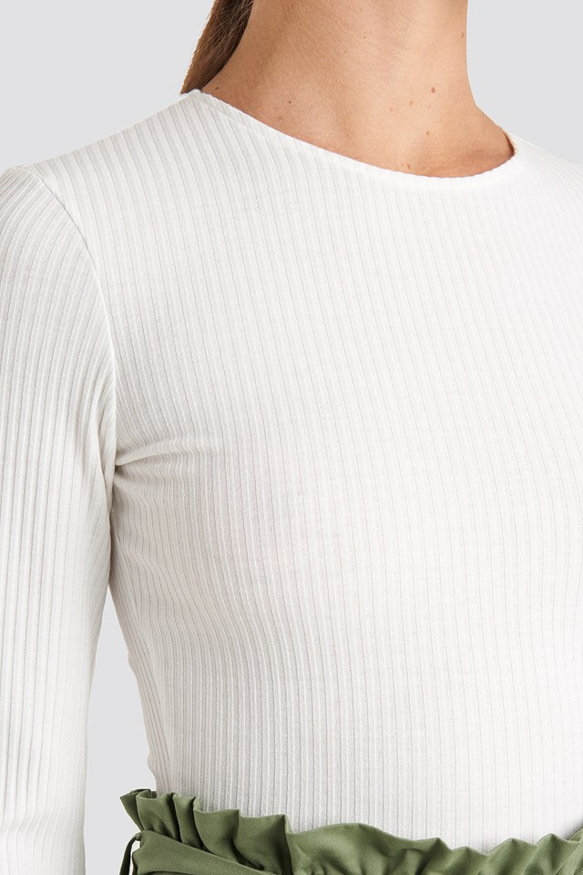 Ribbed Long Sleeve Top Offwhite