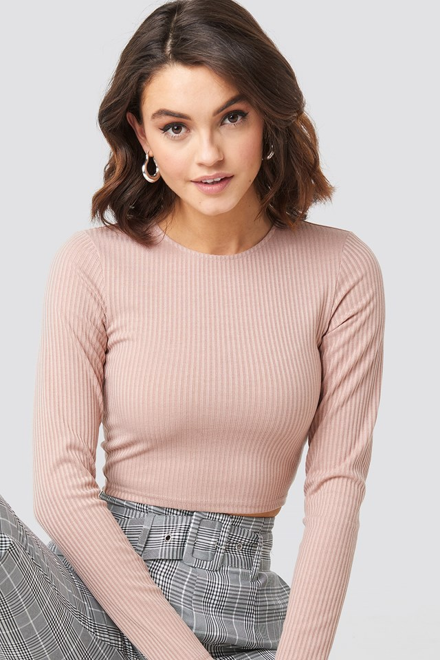 Ribbed Long Sleeve Top Dusty Light Pink