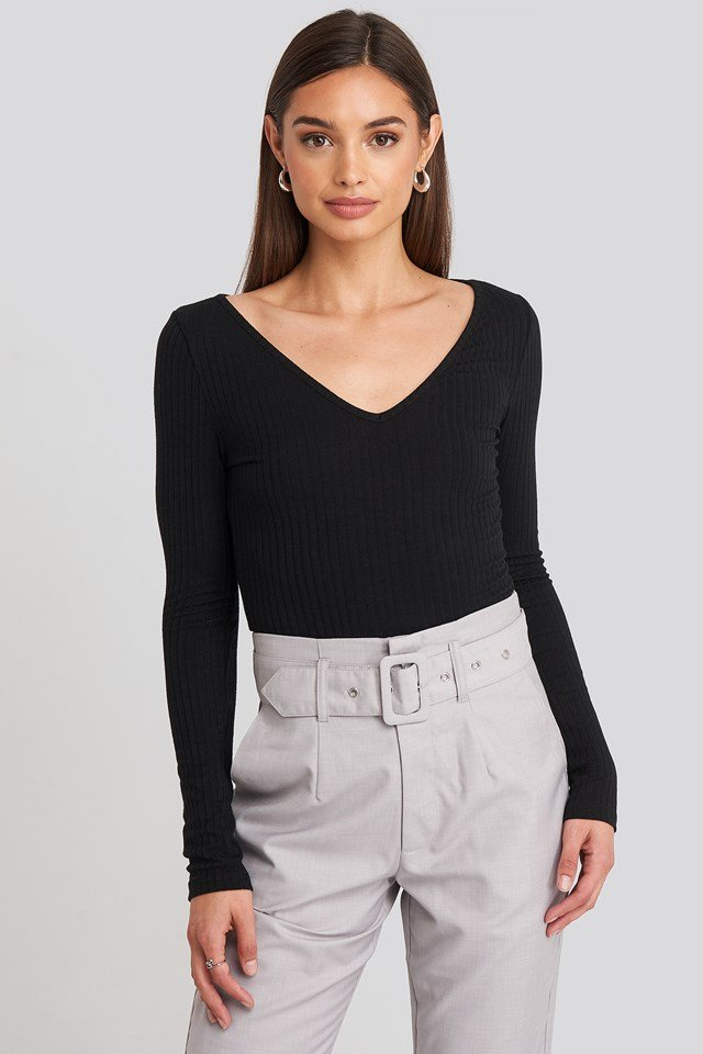 Ribbed Long Sleeve V-neck Top Black