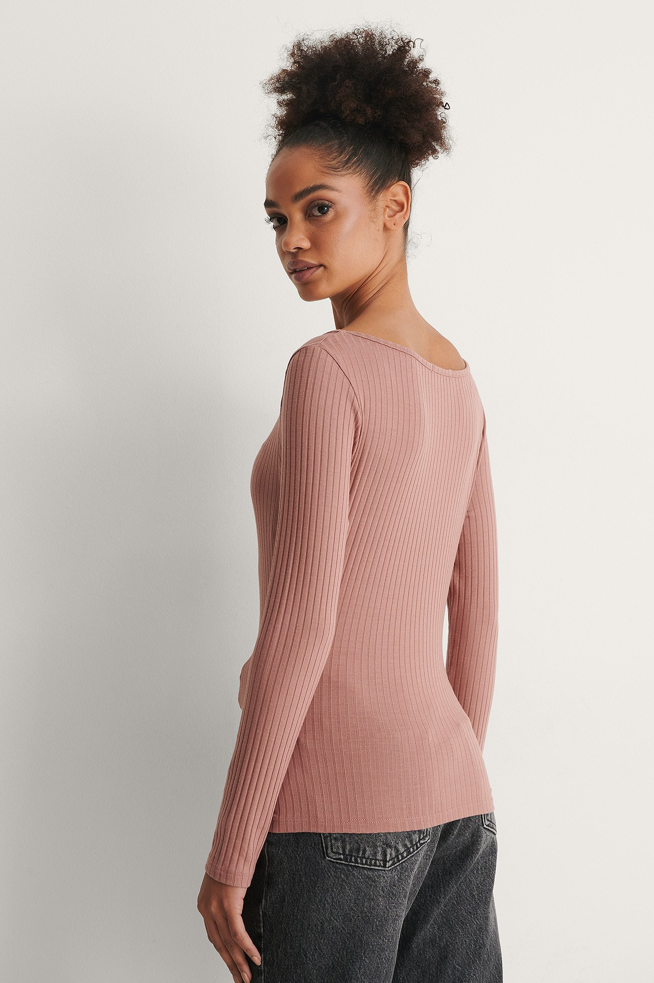 Dusty Dark Pink Ribbed Long Sleeve V-Neck Top