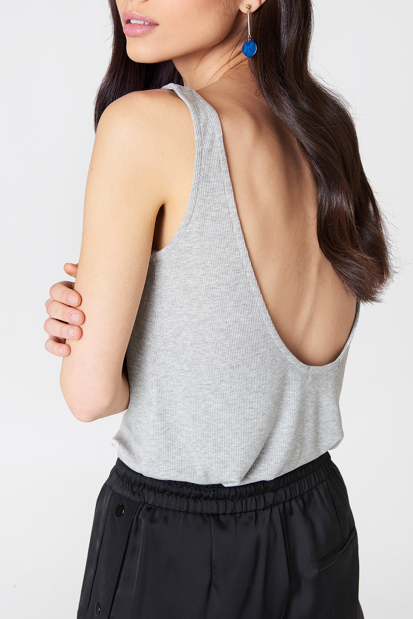 Ribbed Low Back Tank Top NA-KD.COM