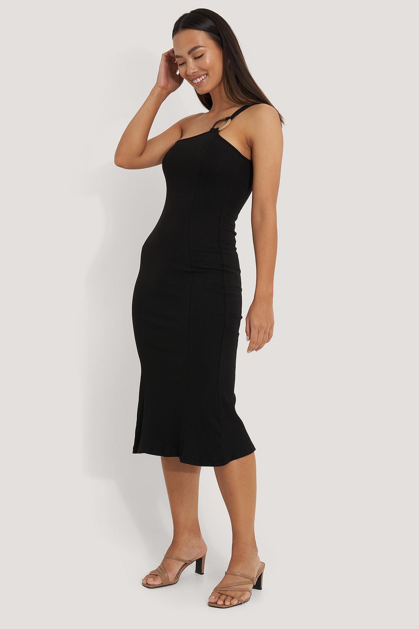 na-kd trend -  Ribbed One Shoulder Dress - Black