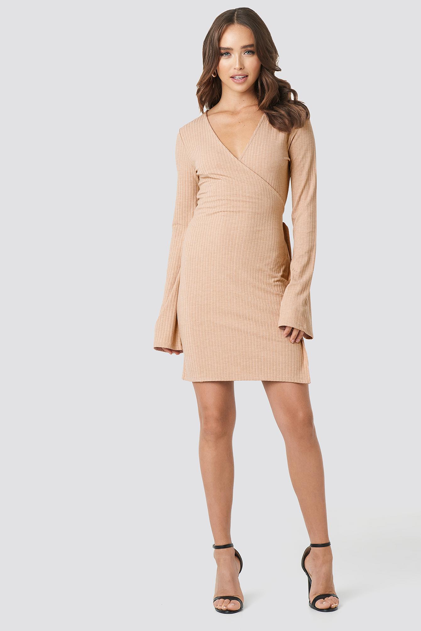 Ribbed Overlap Dress NA-KD.COM