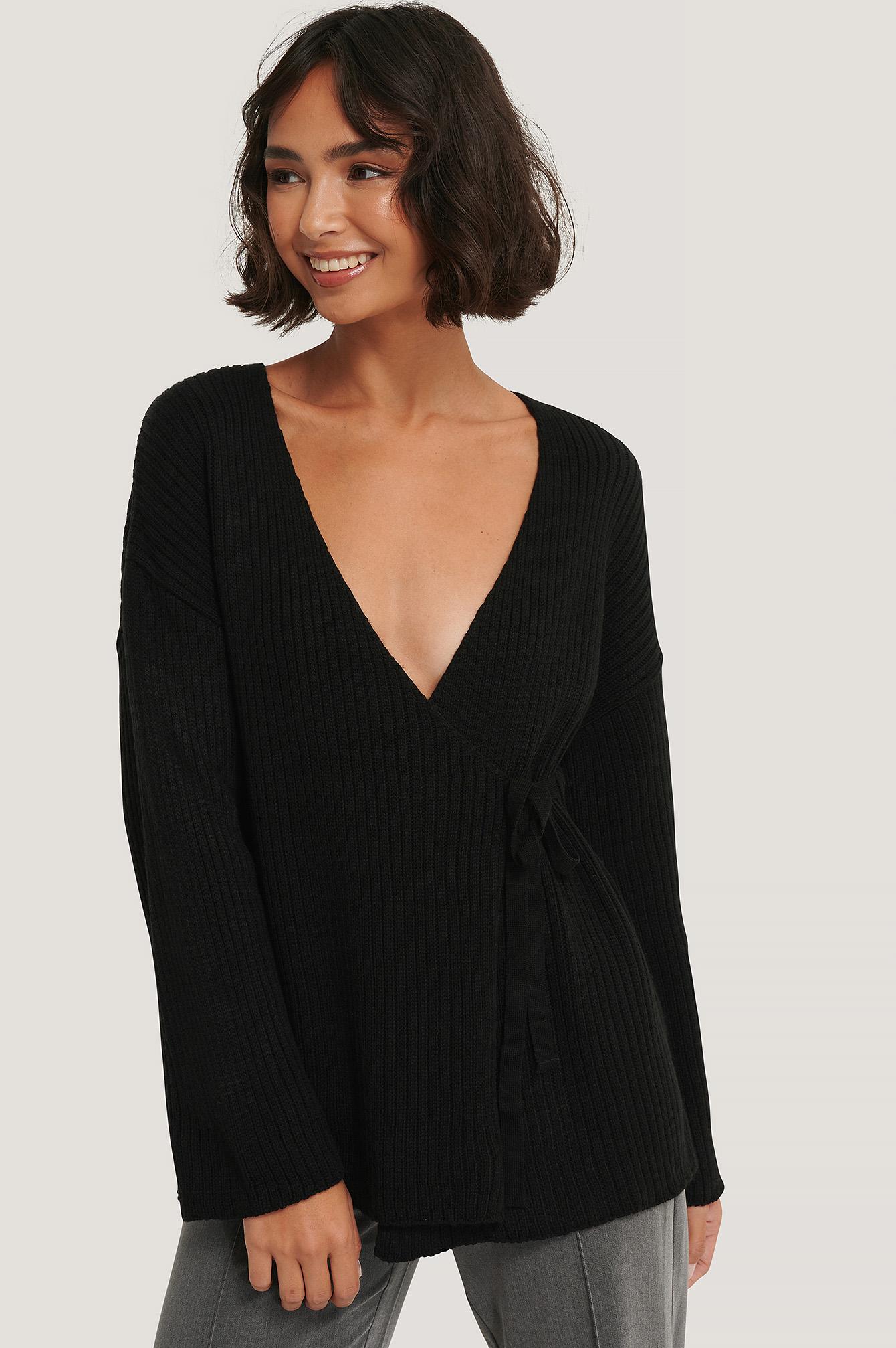 AFJ x NA-KD Ribbed Overlap Tie Sweater - Black