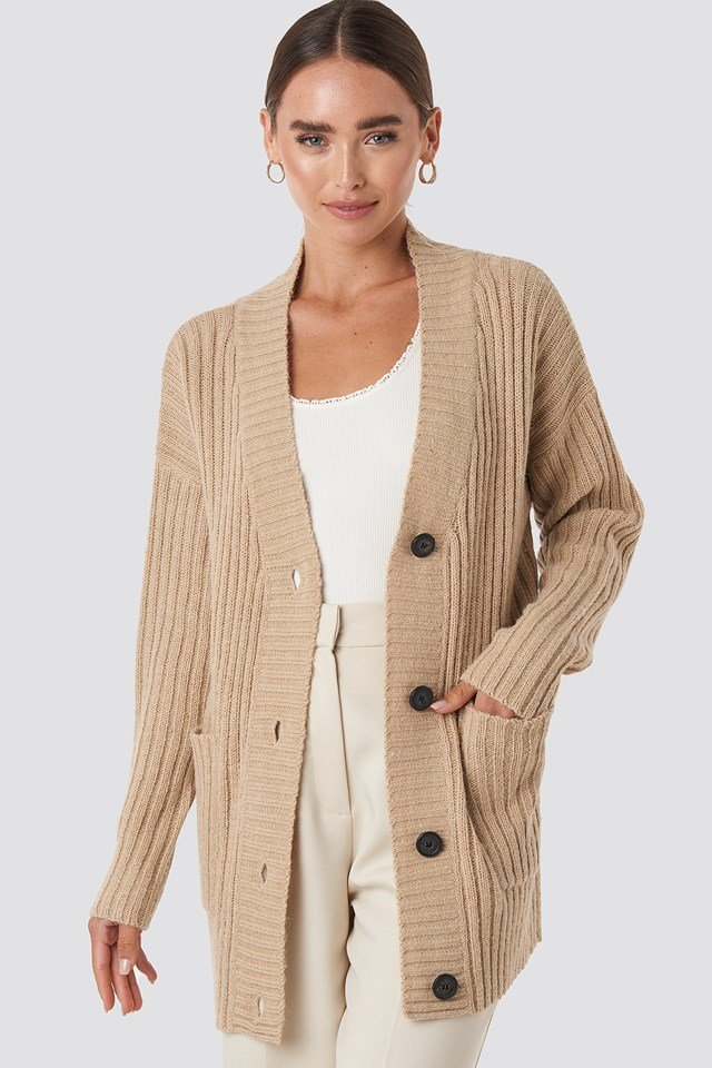 Ribbed Oversized Cardigan Beige