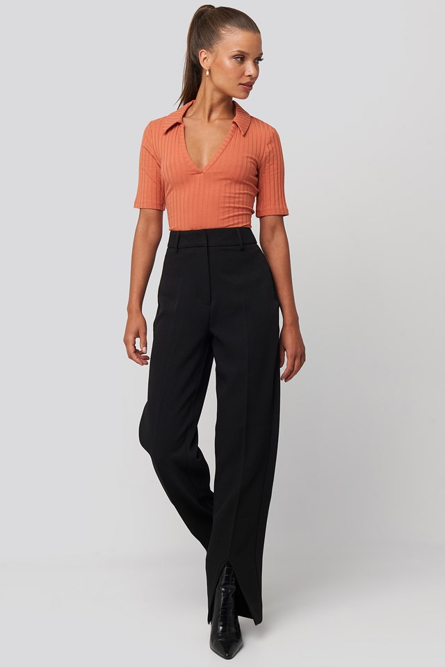 Ribbed Pique Collar Top Rust