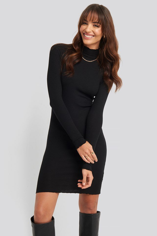 Ribbed Polo Babylock Dress Black