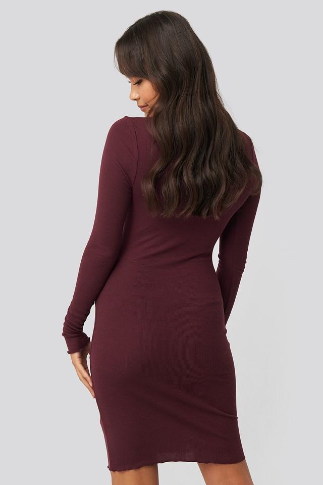 Ribbed Polo Babylock Dress Burgundy