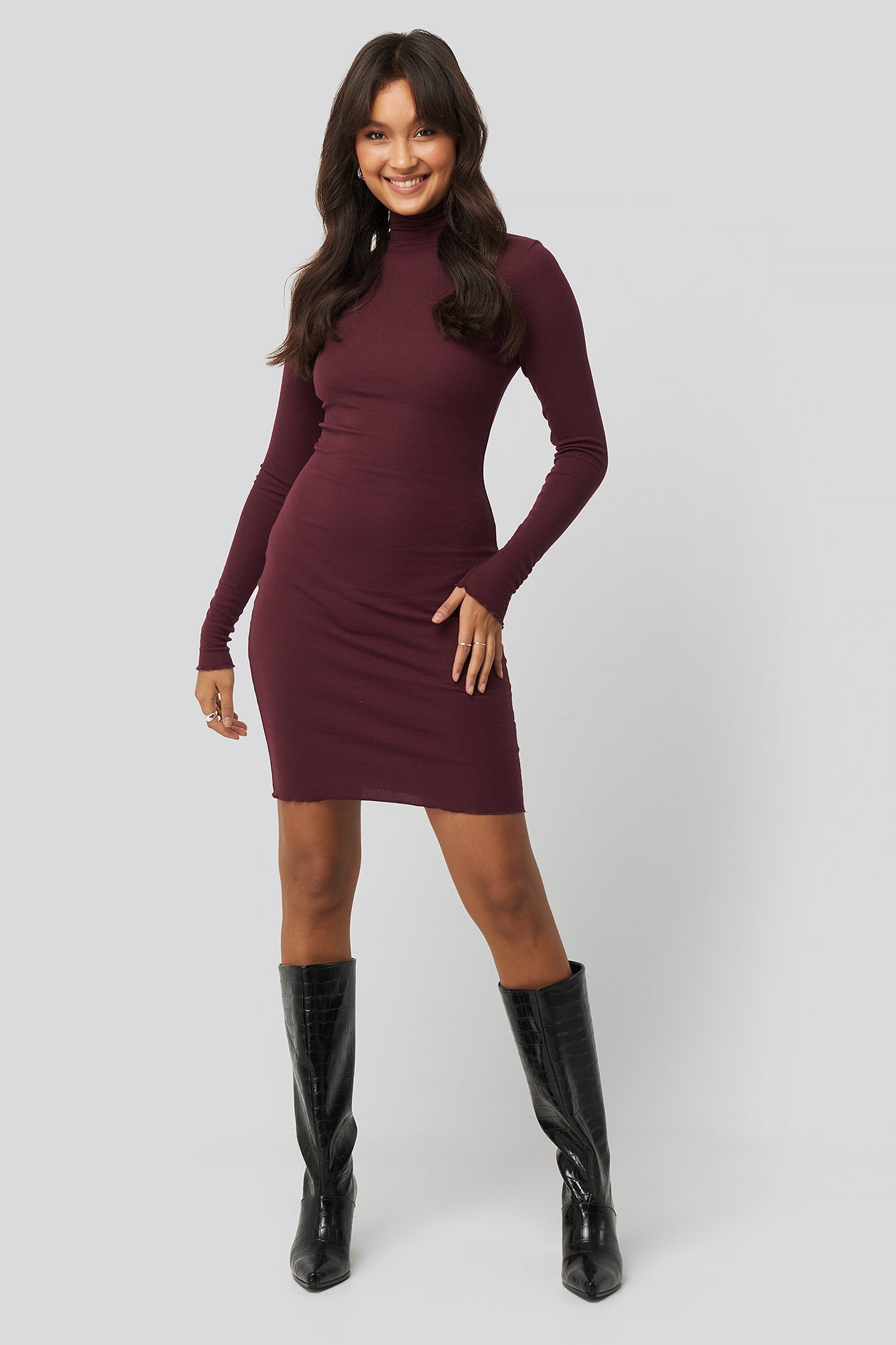 Burgundy Ribbed Polo Babylock Dress