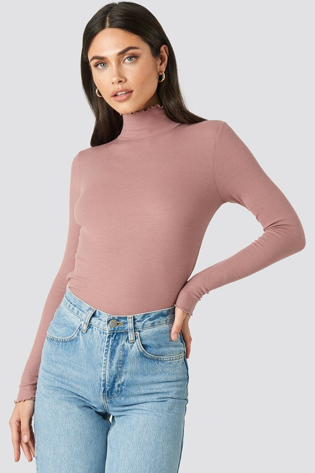 Ribbed Polo Babylock Top Dusty Dark Pink