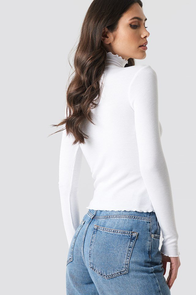 Ribbed Polo Babylock Top Offwhite