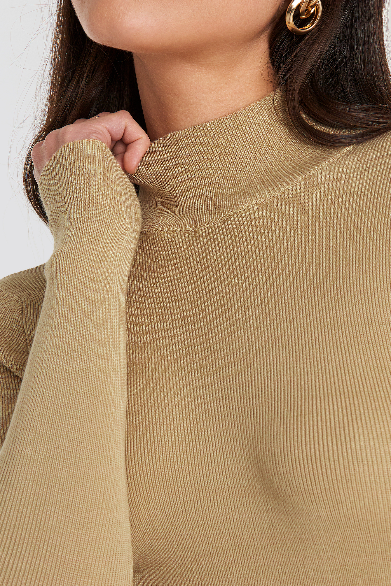 Beige Ribbed Polo Knitted Sweater