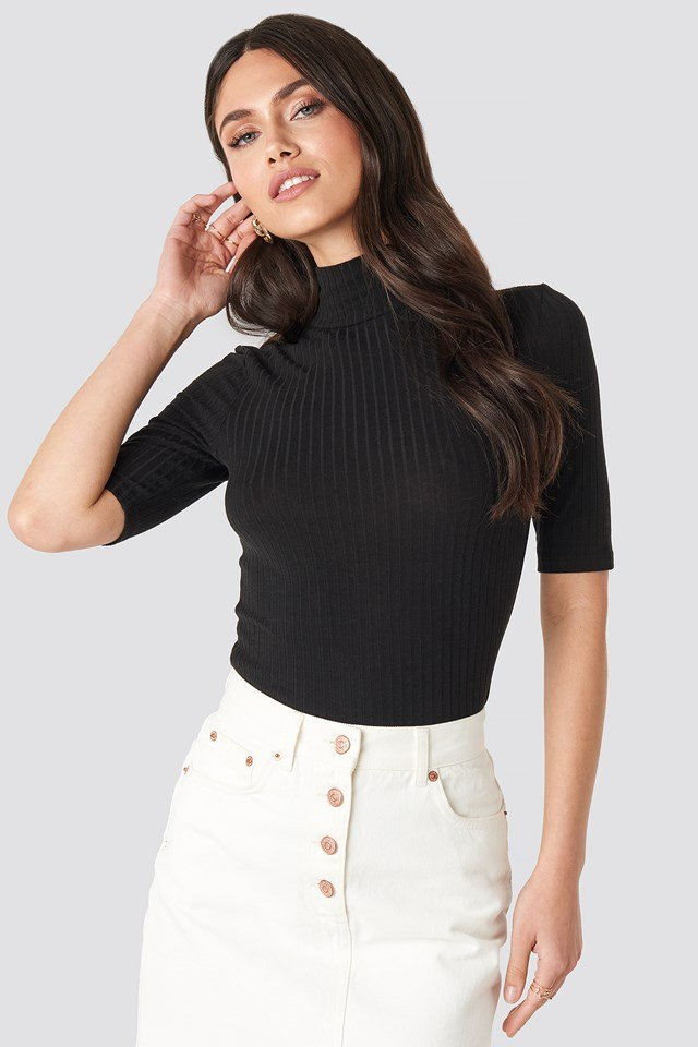 Ribbed Polo Short Sleeve Top Black