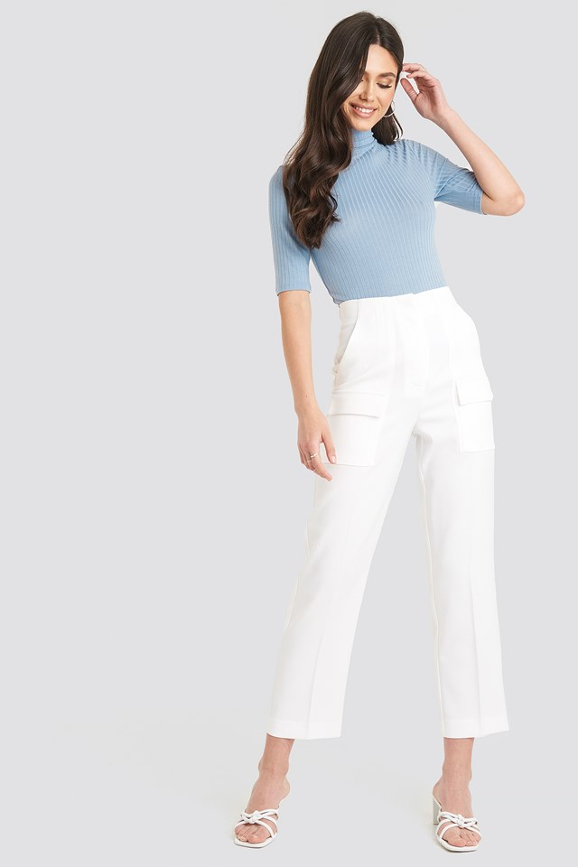Ribbed Polo Short Sleeve Top Dusty Light blue
