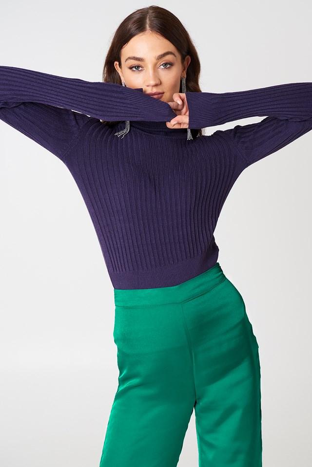 Ribbed Polo Sweater Purple