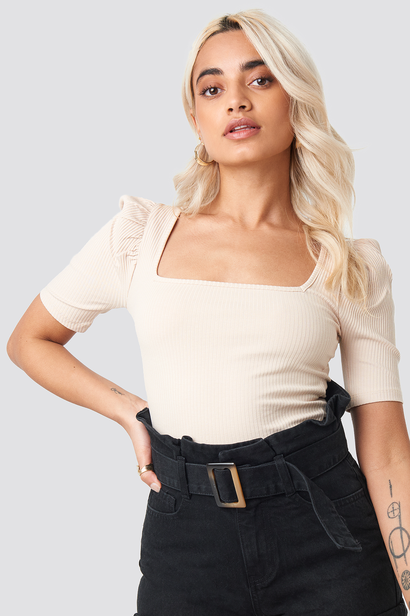 Ribbed Puff Short Sleeve Top NA-KD.COM