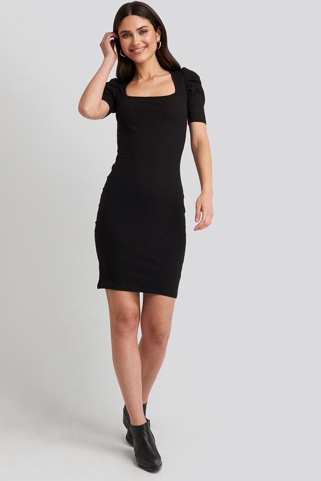 Ribbed Puff Sleeve Dress Black