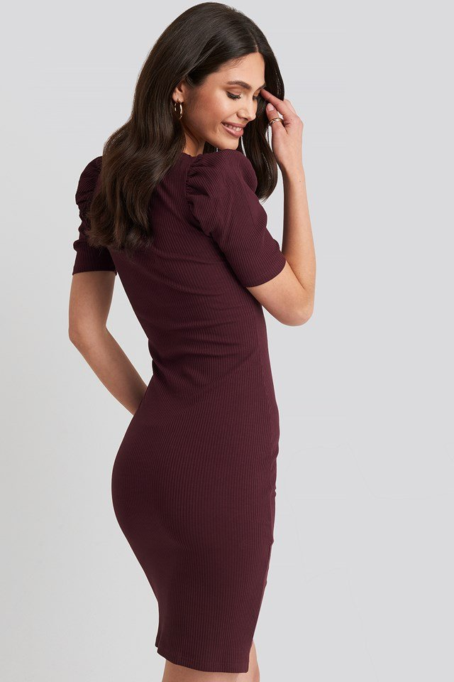 Ribbed Puff Sleeve Dress Burgundy