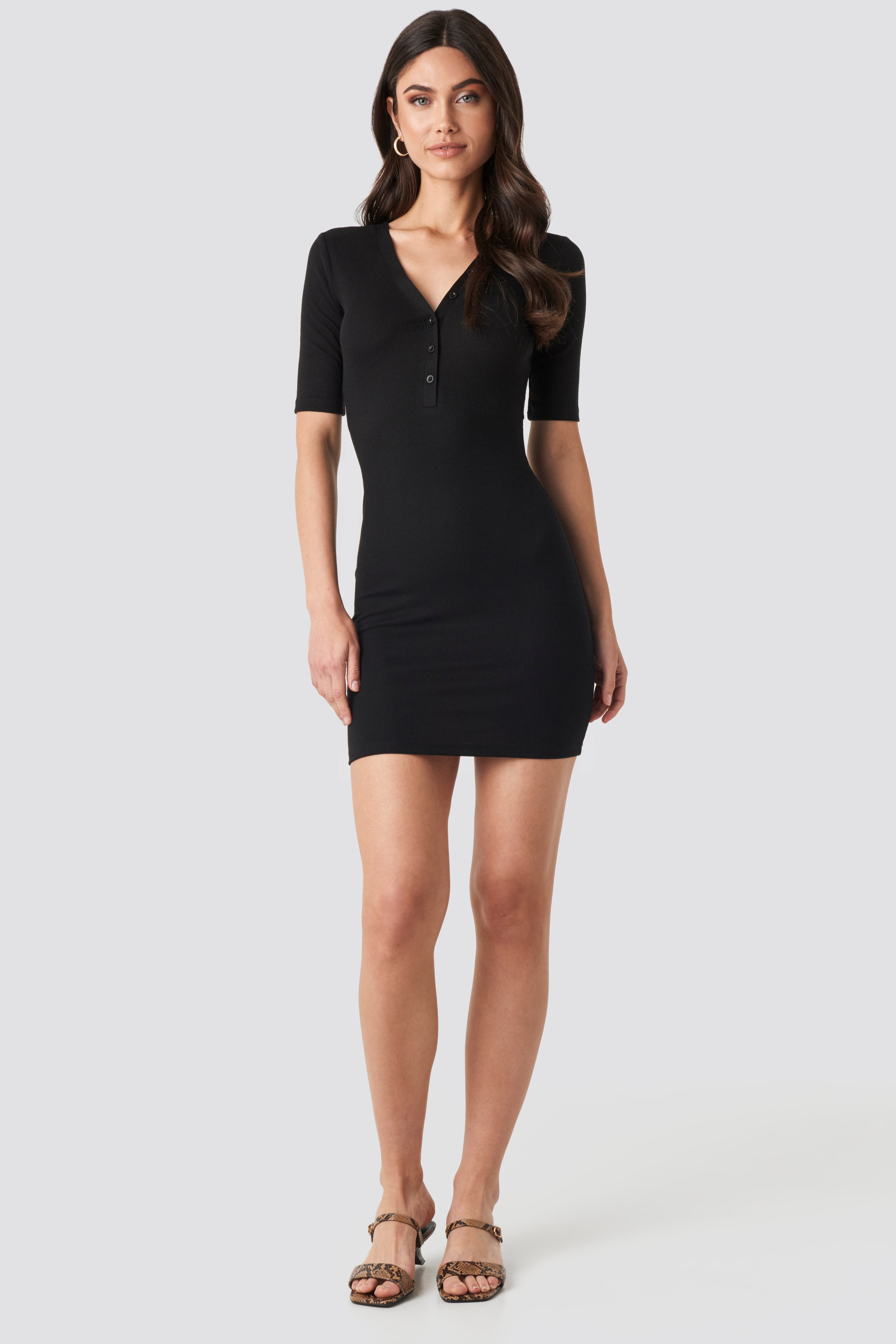 na-kd ribbed short sleeve dress - black