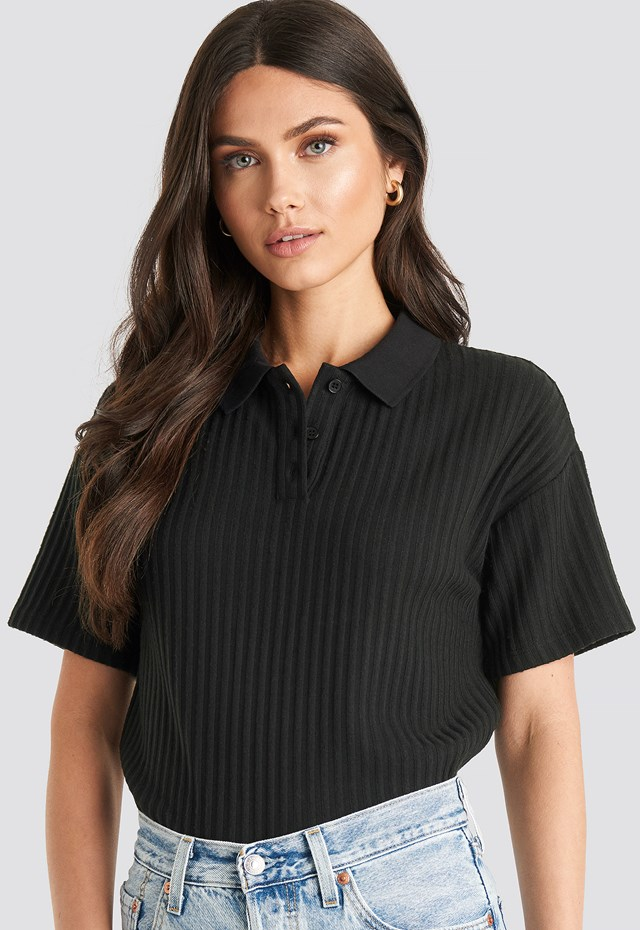 Ribbed Short Sleeve Sweater Black