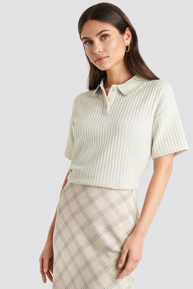 Ribbed Short Sleeve Sweater Dusty Light Beige