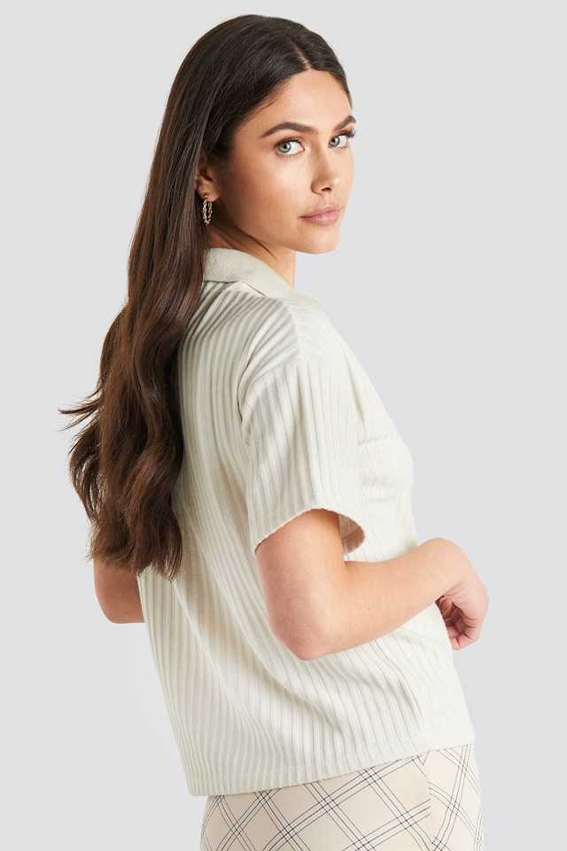 Ribbed Short Sleeve Sweater Dusty Light Beige