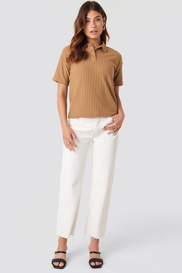 Ribbed Short Sleeve Sweater Tan