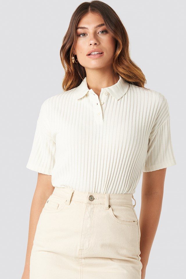 Ribbed Short Sleeve Sweater NA-KD Trend