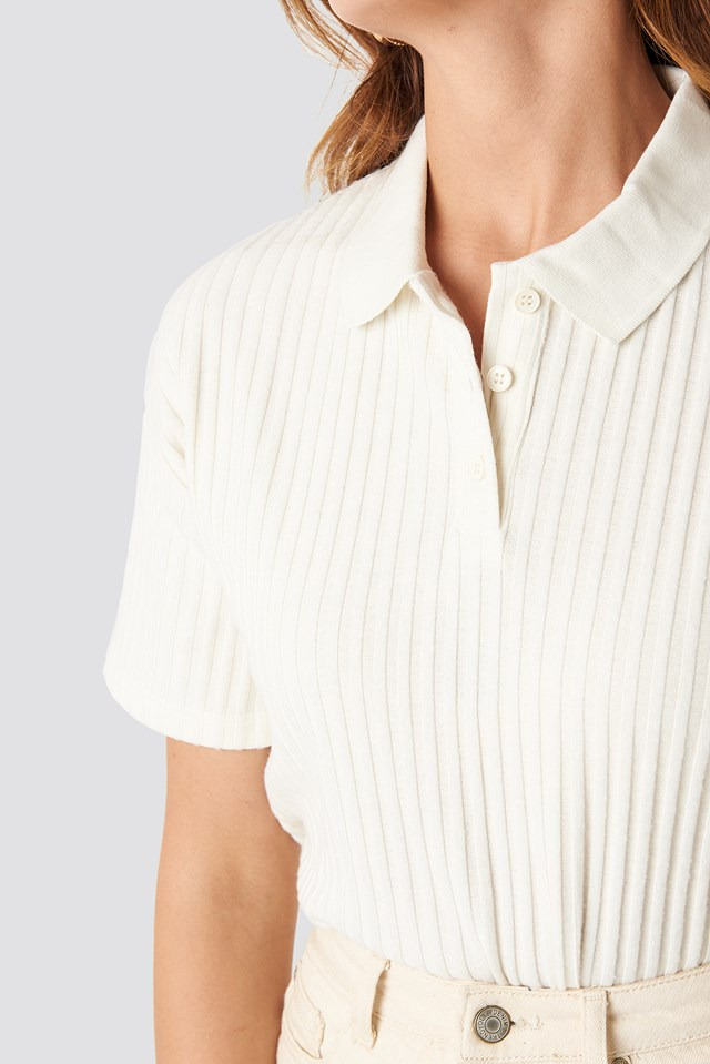 Ribbed Short Sleeve Sweater White