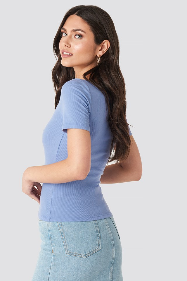 Ribbed Short Sleeve Top Lavender
