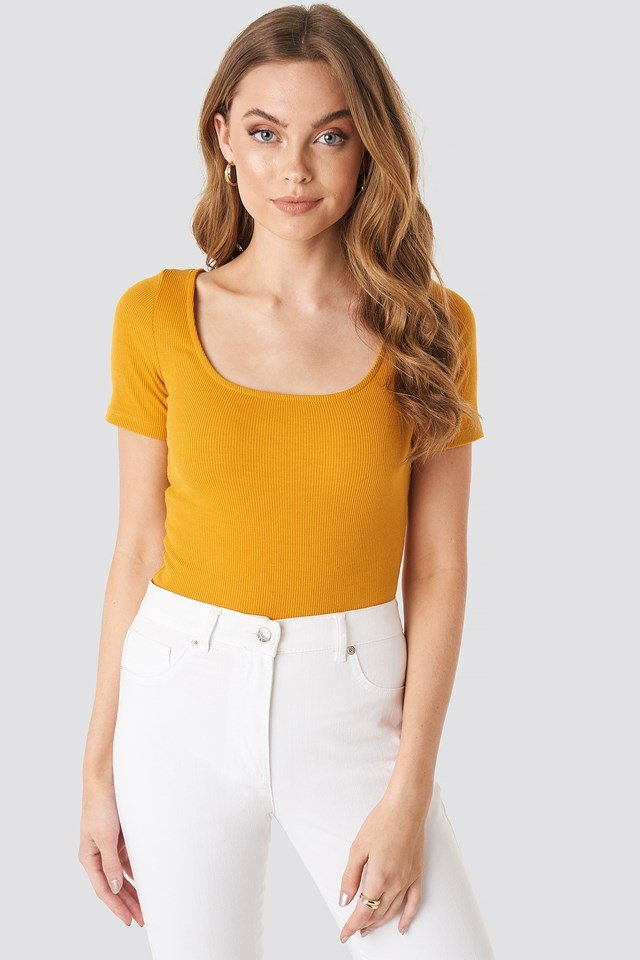 Ribbed Short Sleeve Top Mustard
