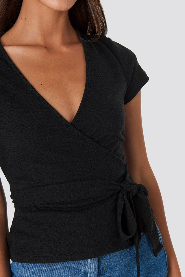 Ribbed Side Knot Top Black