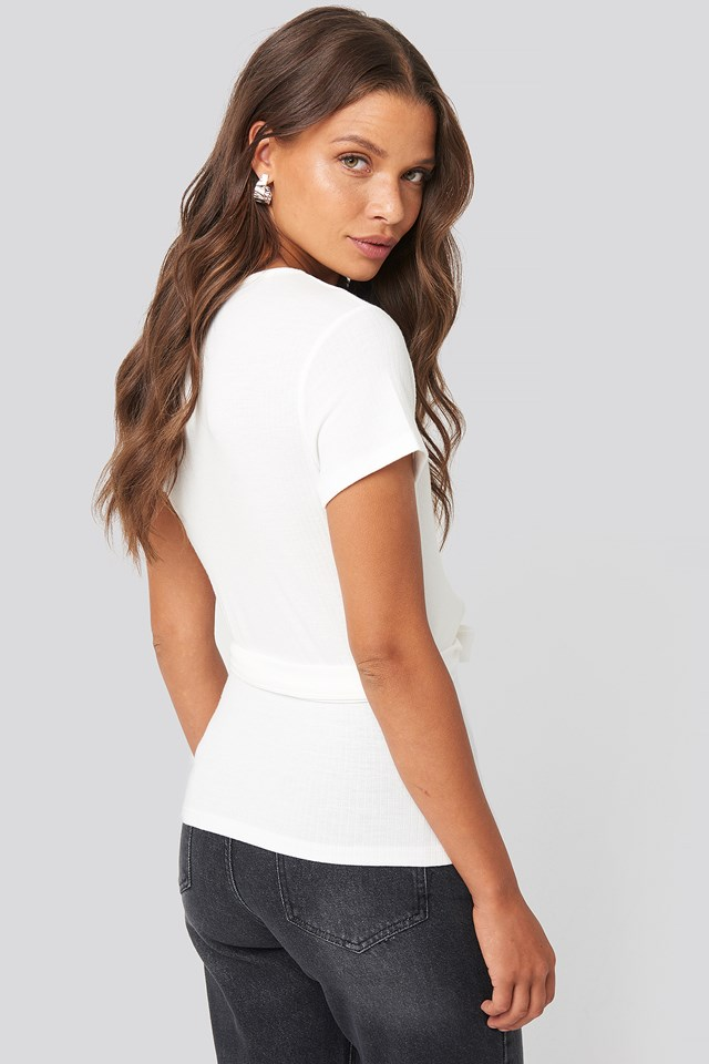 Ribbed Side Knot Top Offwhite