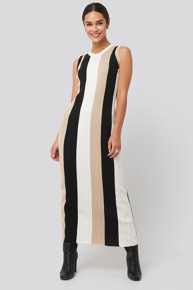 Ribbed Sleeveless Maxi Dress Multicolor Stripe