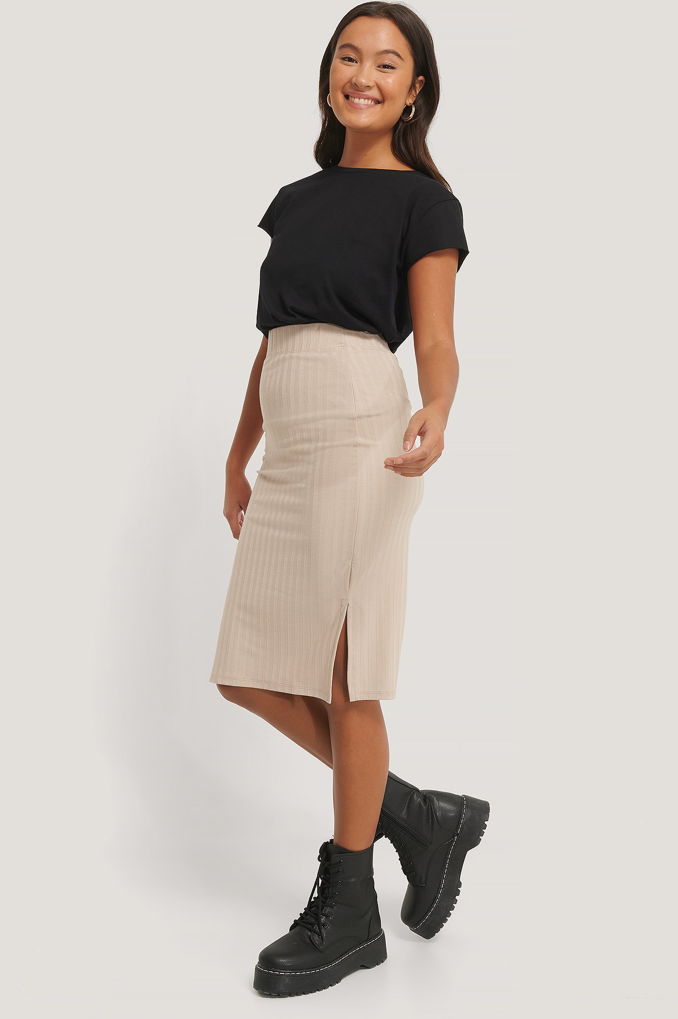 NA-KD Gerippter Rock - Beige | Bekleidung > Röcke > Sonstige Röcke | NA-KD
