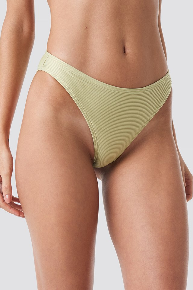 Ribbed Sporty Bikini Bottom Dusty Light Green