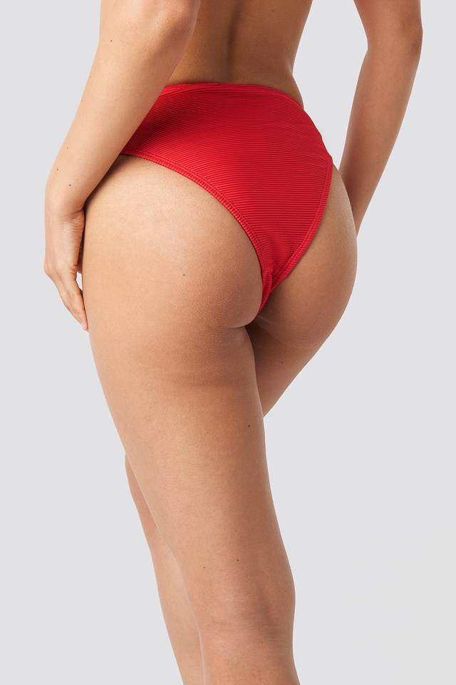 Ribbed Sporty Bikini Bottom Red