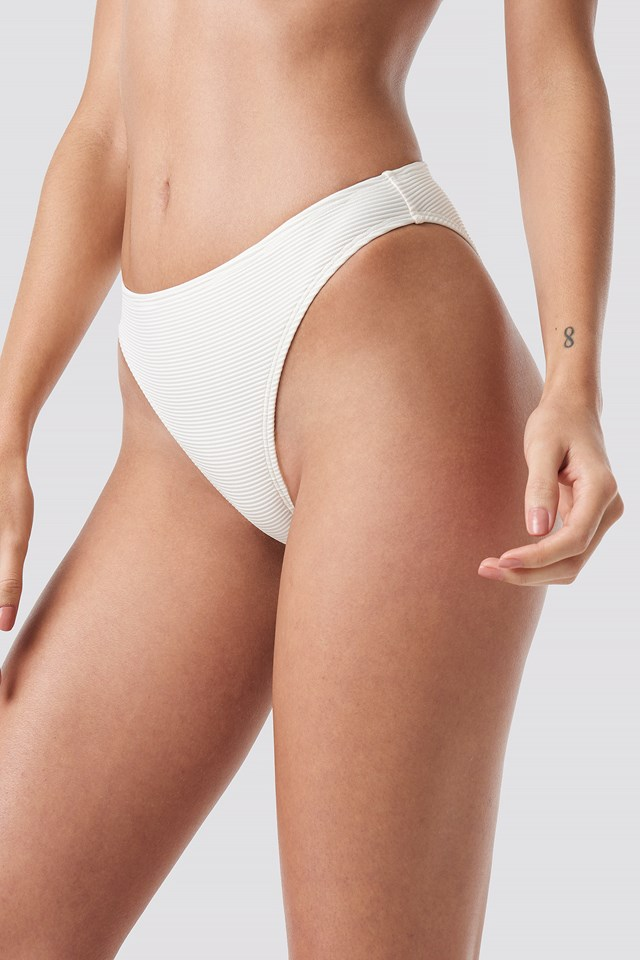 Ribbed Sporty Bikini Bottom Offwhite