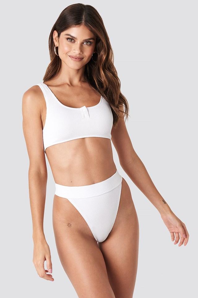 Ribbed Sporty Bikini Top White