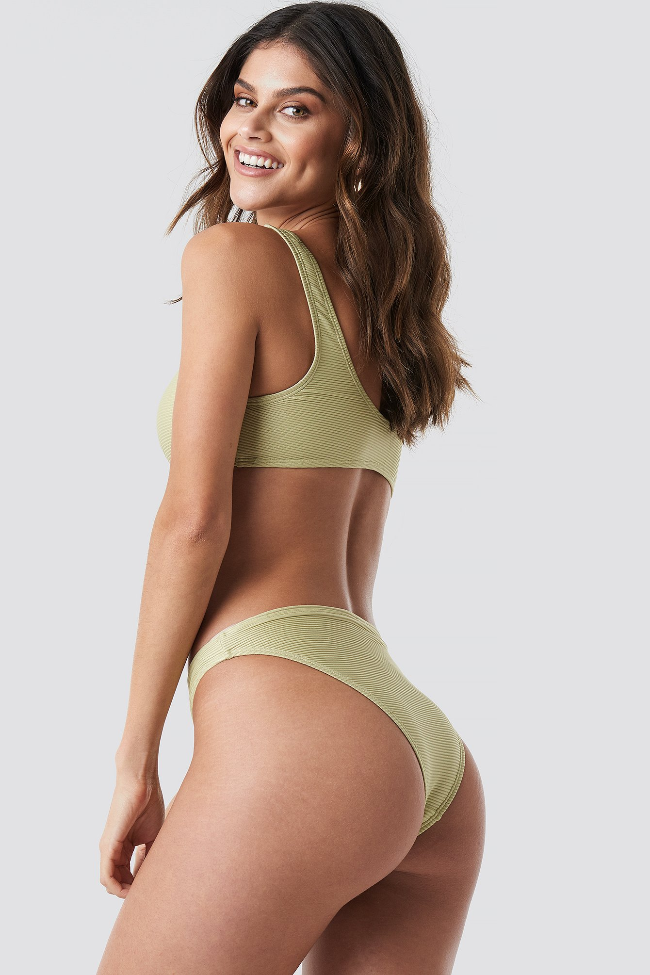 Dusty Light Green Ribbed Sporty Bikini Top