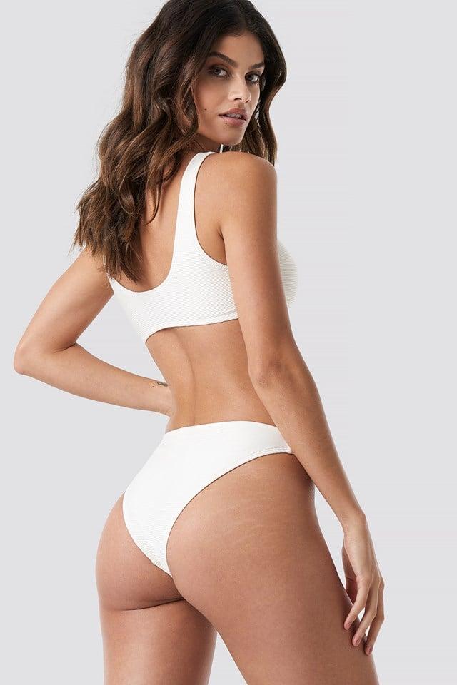 Ribbed Sporty Bikini Top Offwhite
