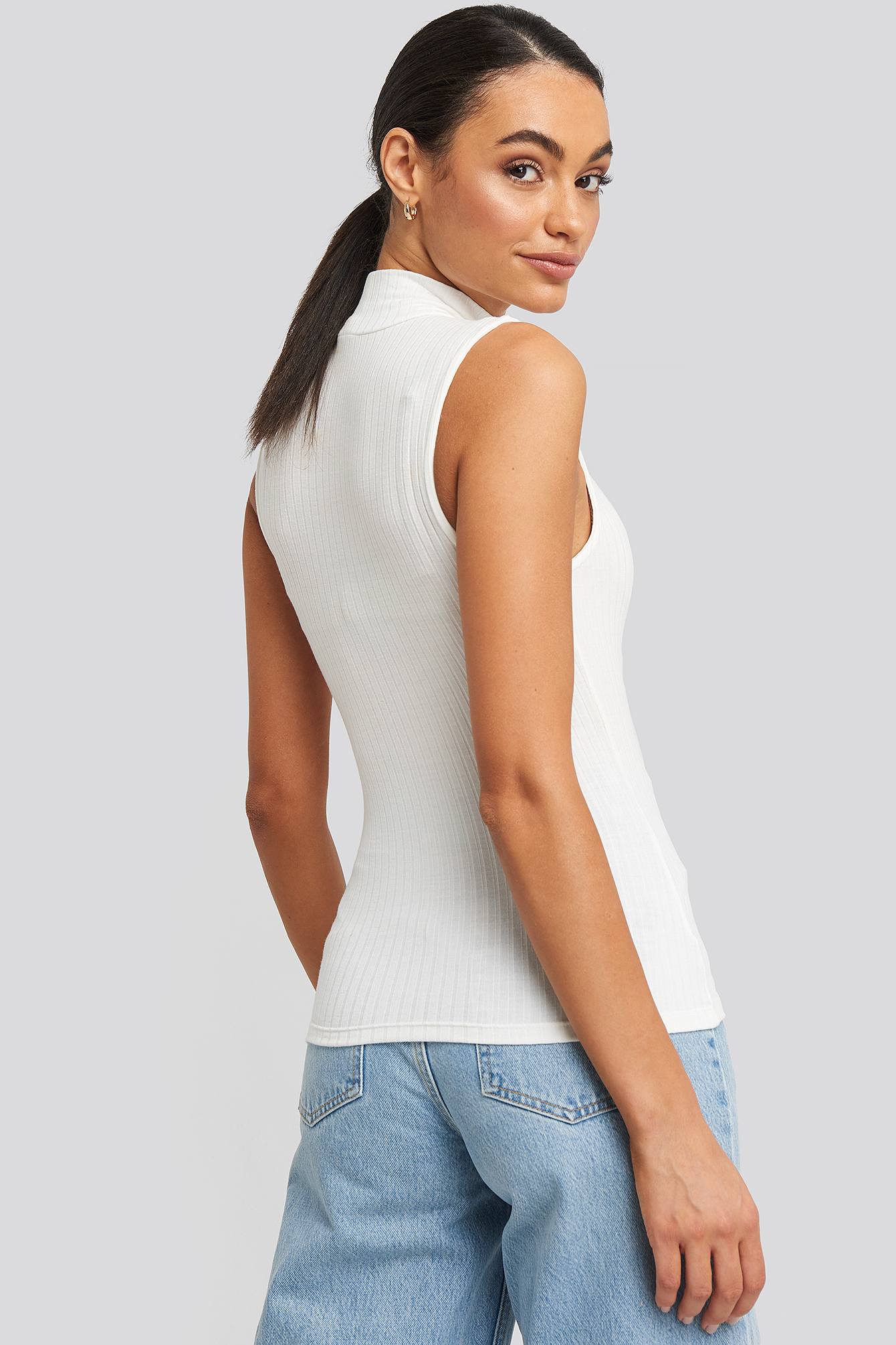 Offwhite Ribbed High Neck Tank Top