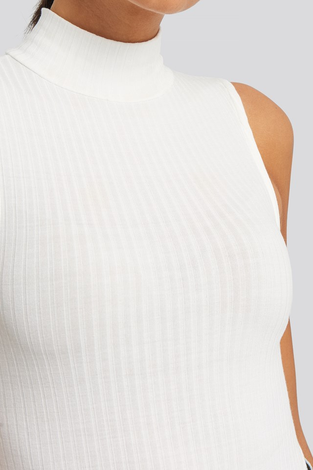 Ribbed High Neck Tank Top Offwhite