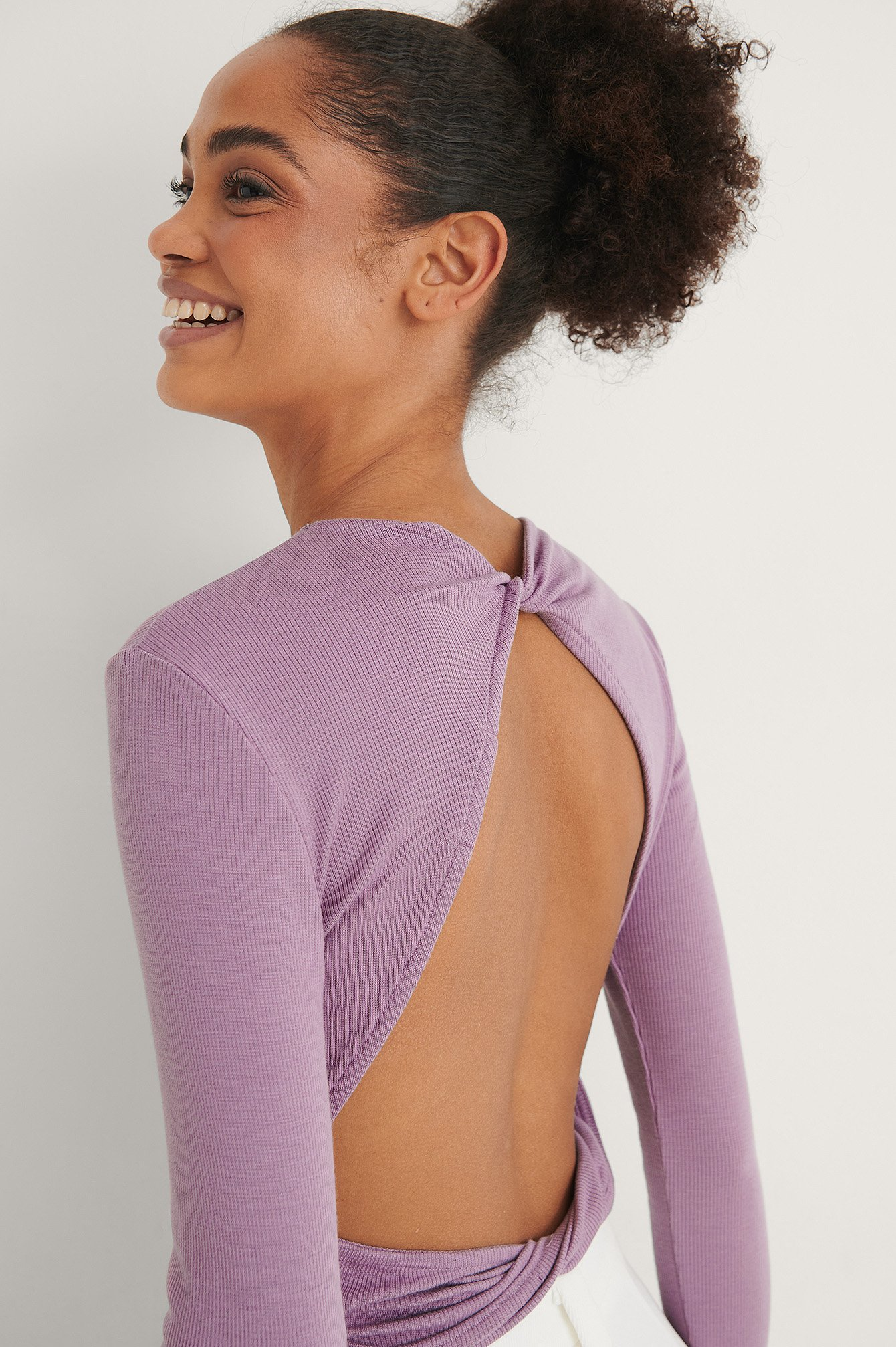 Lilac Ribbed Twist Detail Top