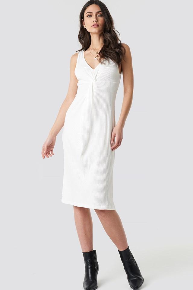 Ribbed Twist Front Midi Dress White