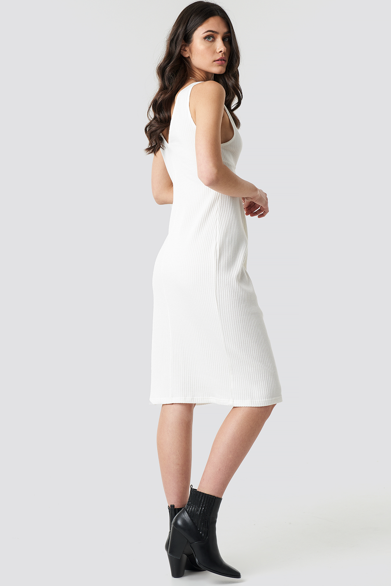 Ribbed Twist Front Midi Dress NA-KD.COM