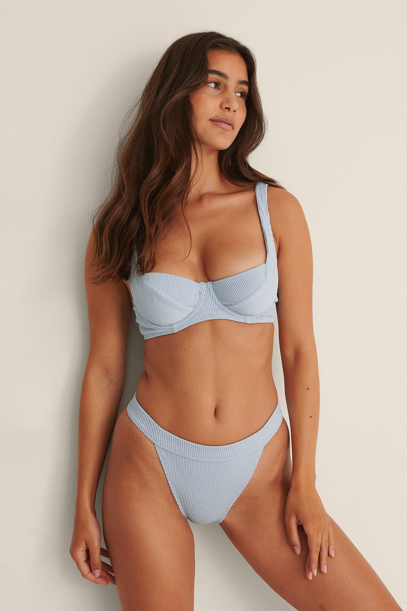 NA-KD Swimwear Bikinitrusse I Bred Ribelastik Med Høj Benskæring - Blue