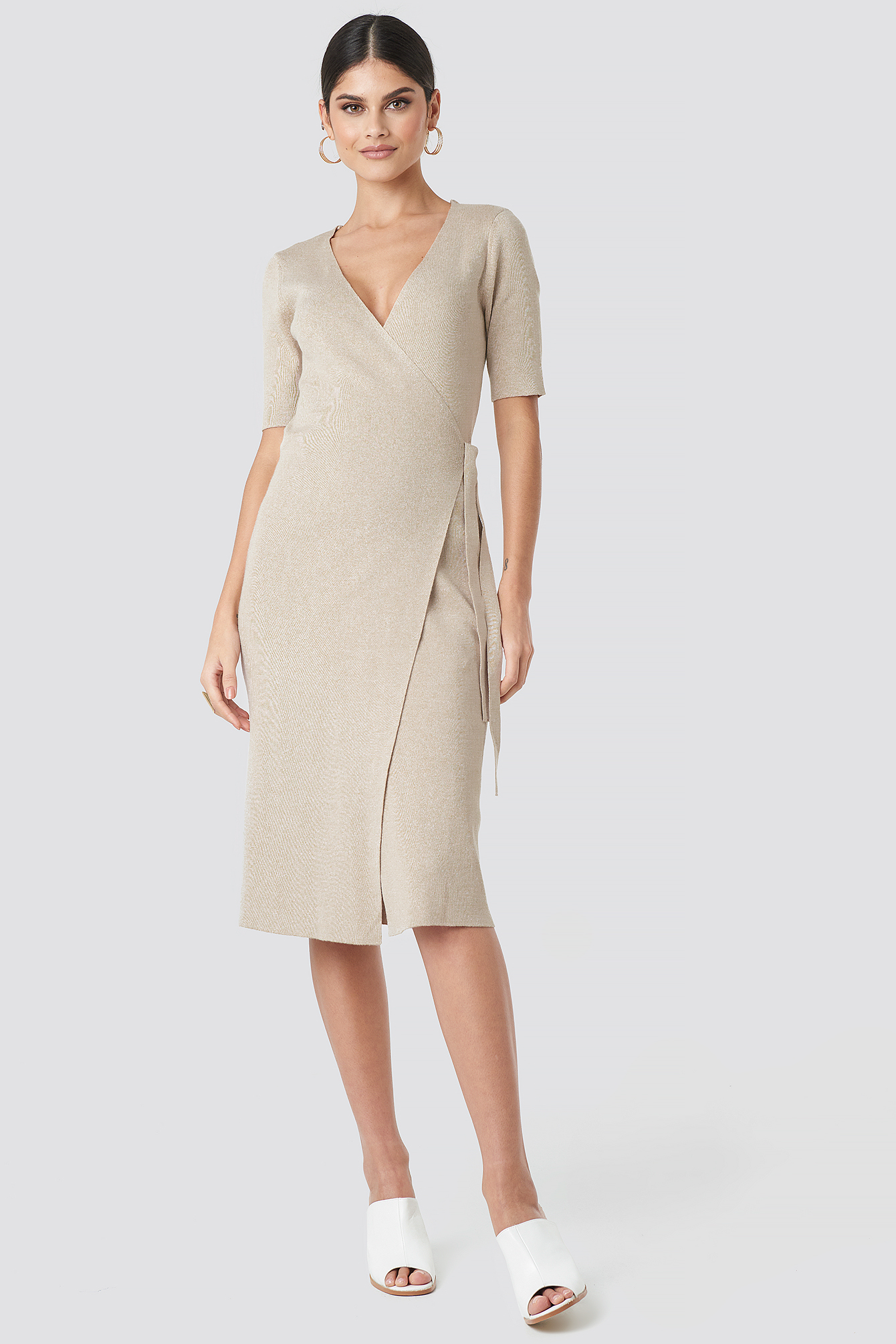 Ribbed Wrap Midi Dress NA-KD.COM